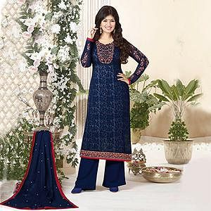 Navy Blue Embroidered Work Palazzo Suit