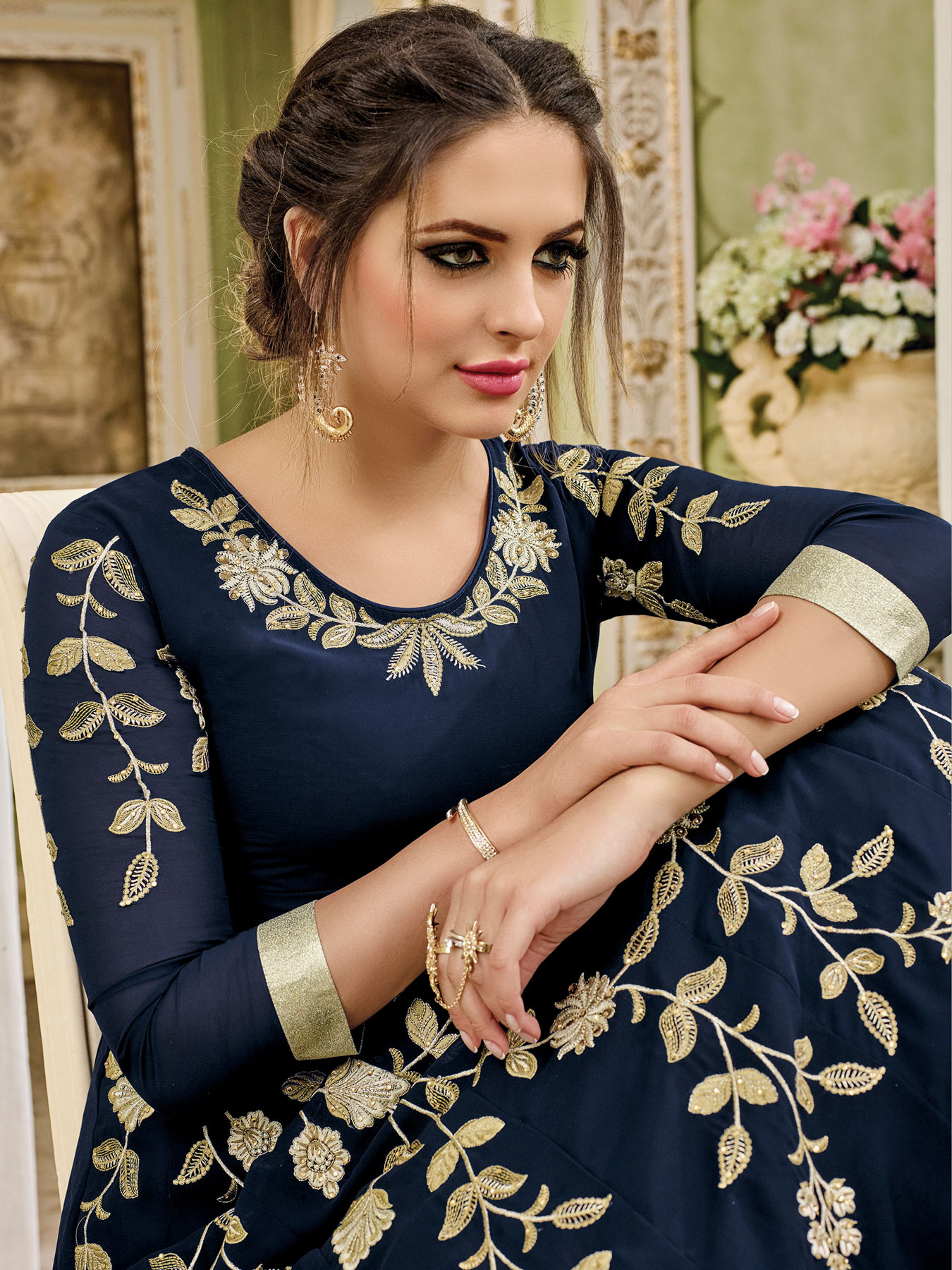 Stunning Navy Blue Designer Embroidered Partywear Georgette Anarkali Suit