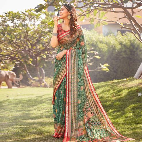 Entrancing Green Colored Festive Wear Woven Chiffon Brasso Saree