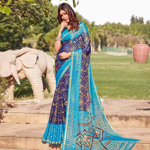 Groovy Navy Blue Colored Festive Wear Woven Chiffon Brasso Saree