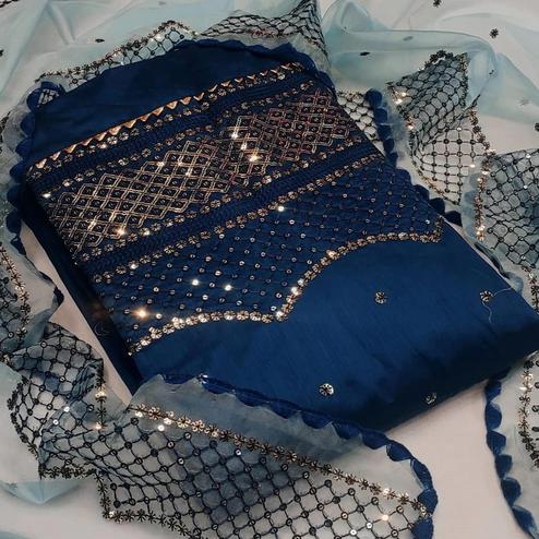 Graceful Dark Blue Colored Partywear Chanderi Cotton Dress Material