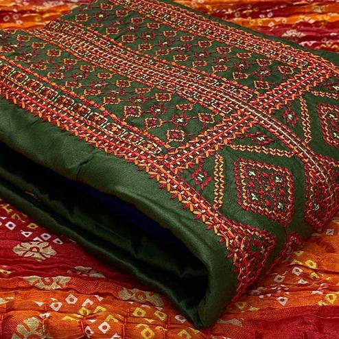 Delightful Mehendi Green Colored Partywear Embroidered Cotton Dress Material