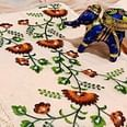 Innovative Peach Colored Partywear Embroidered Cotton Dress Material