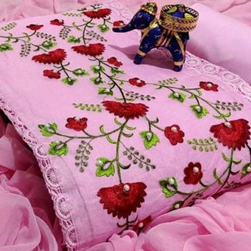 Amazing Pink Colored Partywear Embroidered Cotton Dress Material