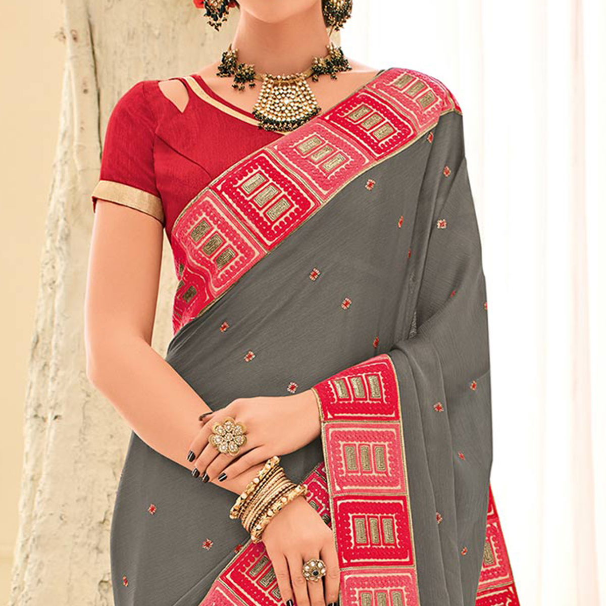 Grey Colored Designer Embroidered Silk Saree