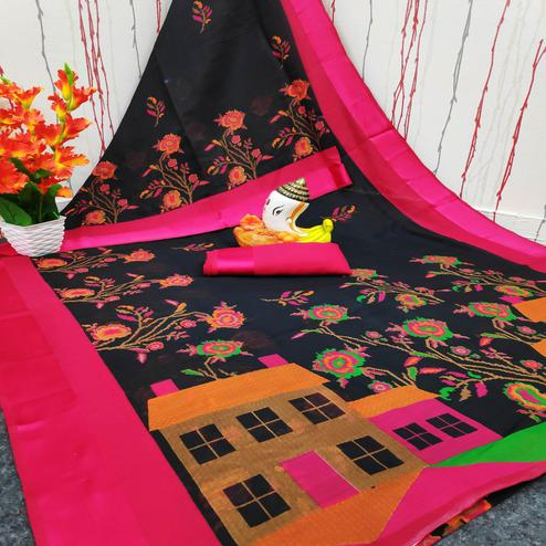Dazzling Black Colored Casual Wear Digital Printed Cotton Linen Saree