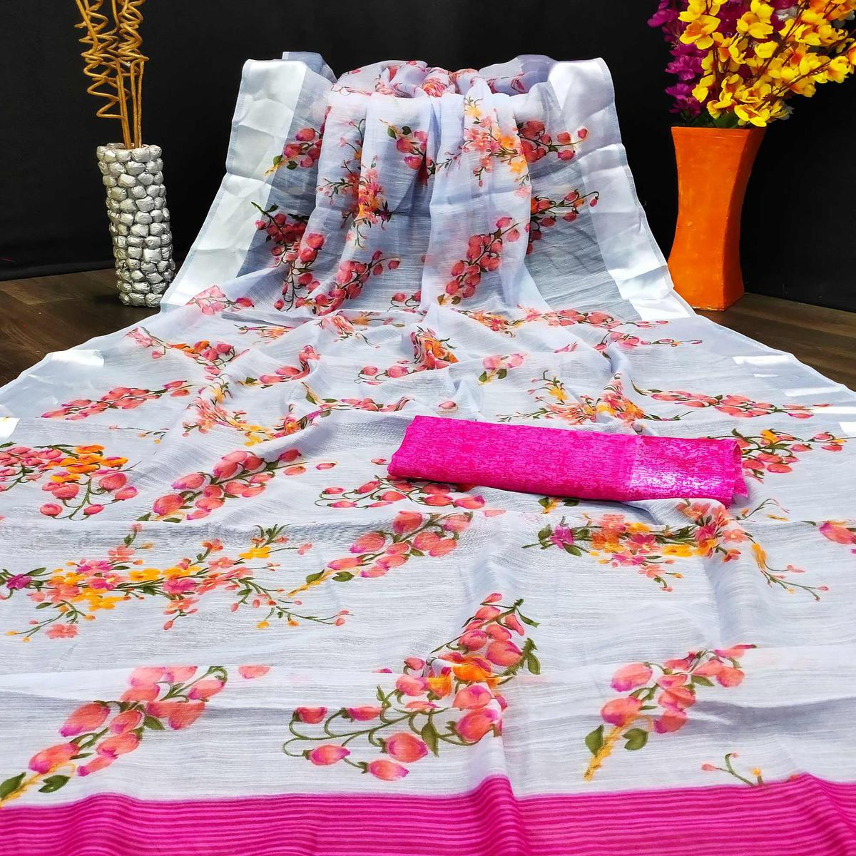Intricate White Colored Casual Wear Digital Printed Cotton Linen Saree