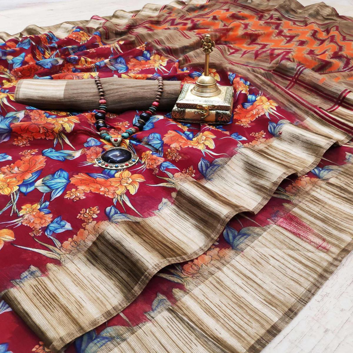 Arresting Red Colored Casual Wear Digital Printed Cotton Linen Saree