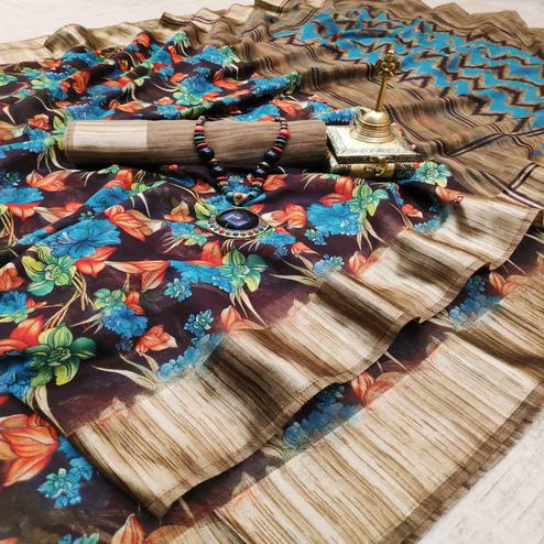 Exotic Brown Colored Casual Wear Digital Printed Cotton Linen Saree