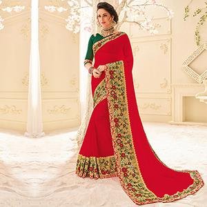 Red Colored Designer Embroidered Georgette Sari