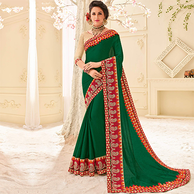 Green Colored Designer Embroidered Moss Chiffon Saree
