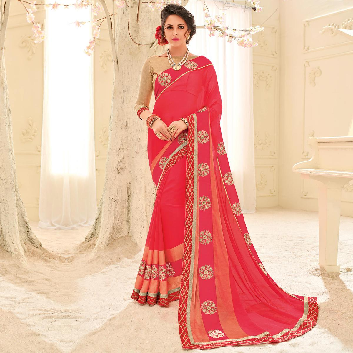 Pink Colored Designer Embroidered Two Tone Chiffon Pattern Sari