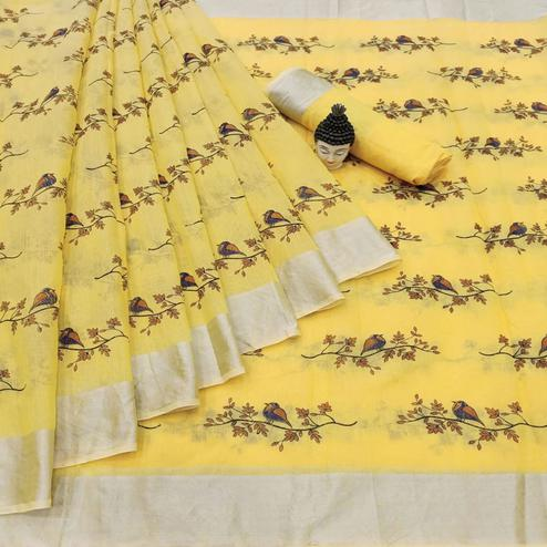 Stunning Yellow Colored Casual Wear Printed Cotton Linen Saree