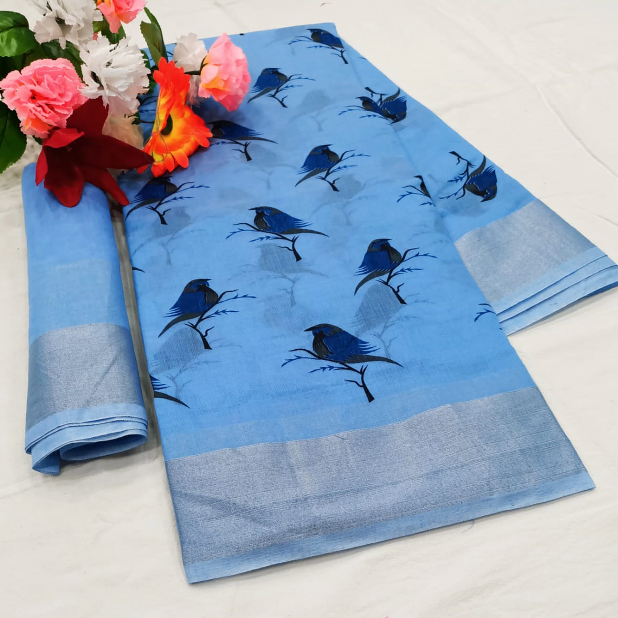Flirty Blue Colored Casual Wear Printed Cotton Linen Saree
