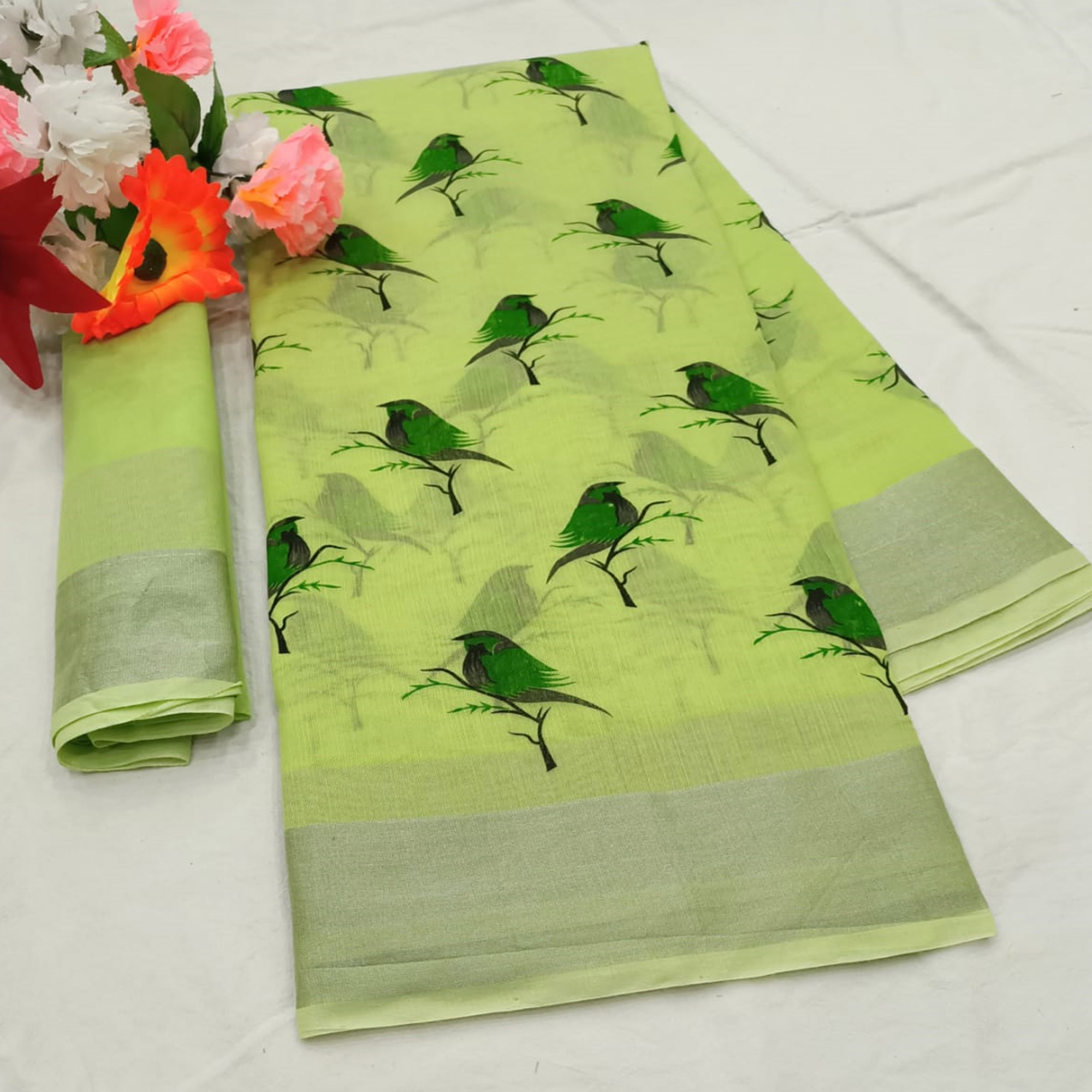 Classy Green Colored Casual Wear Printed Cotton Linen Saree