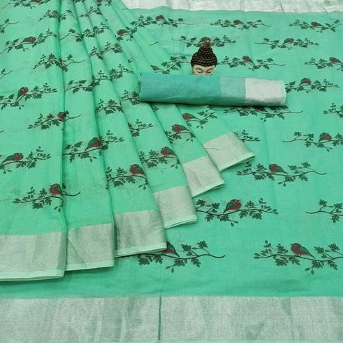 Prominent Turquoise Green Colored Casual Wear Printed Cotton Linen Saree