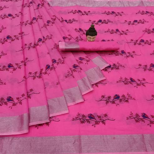 Appealing Pink Colored Casual Wear Printed Cotton Linen Saree