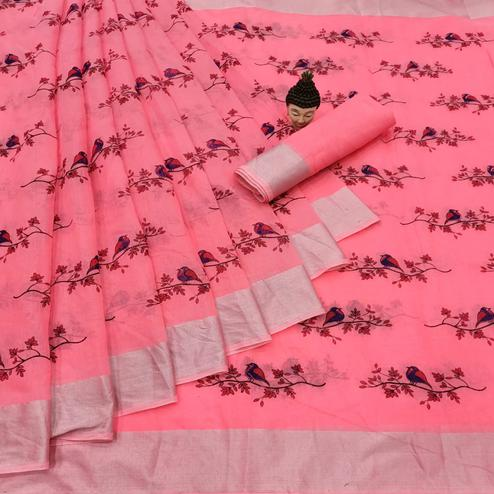 Capricious Peach Colored Casual Wear Printed Cotton Linen Saree