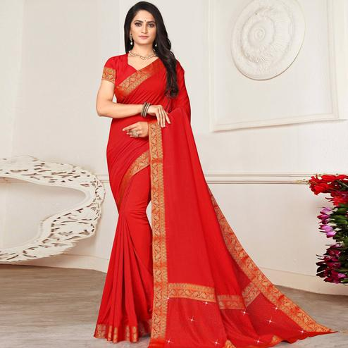 Groovy Red Colored Festive Wear Lace Work Vichitra Silk Saree