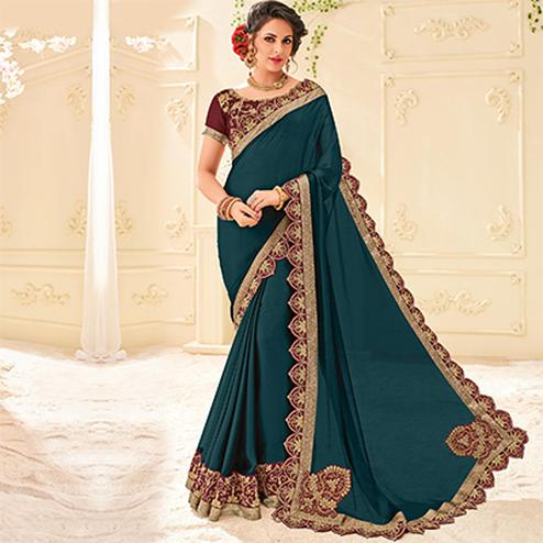 Green Colored Designer Embroidered Two Tone Bright Georgette Saree