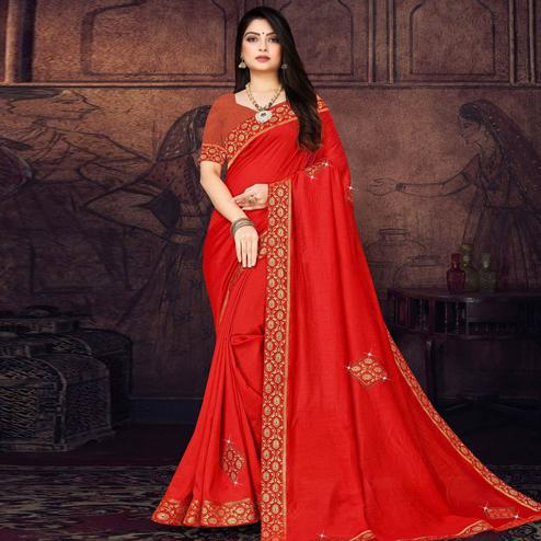 Blooming Red Colored Festive Wear Lace Work Vichitra Silk Saree