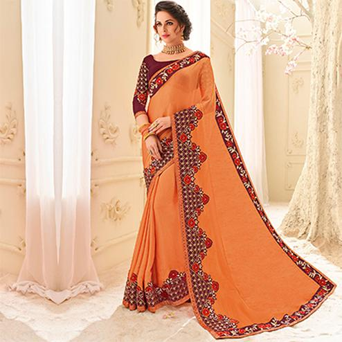 Orange Colored Designer Embroidered Two Tone Moss Chiffon Sari