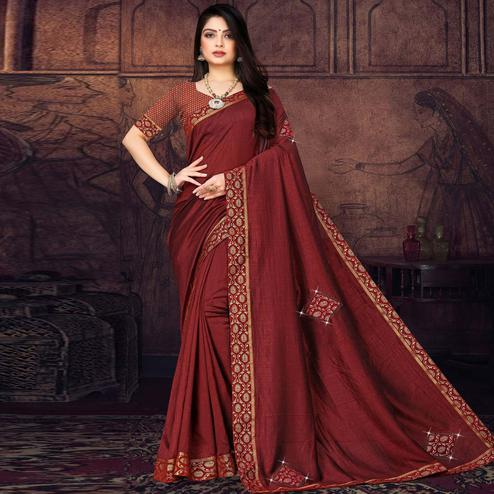 Engrossing Maroon Colored Festive Wear Lace Work Vichitra Silk Saree