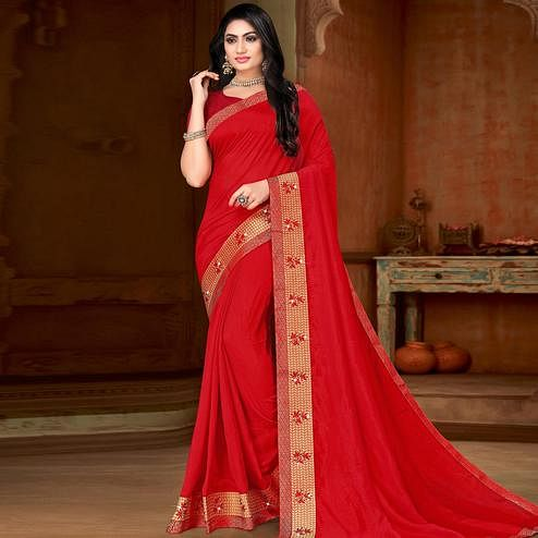 Fantastic Red Colored Festive Wear Lace Work Vichitra Silk Saree
