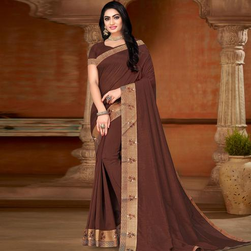 Gorgeous Coffee Colored Festive Wear Lace Work Vichitra Silk Saree