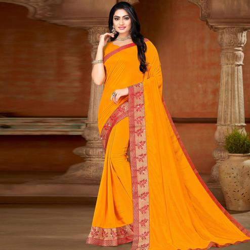 Blissful Yellow Colored Festive Wear Lace Work Vichitra Silk Saree