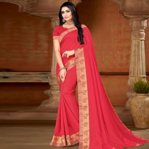 Ideal Pink Colored Festive Wear Lace Work Vichitra Silk Saree