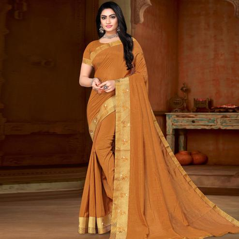 Imposing Mustard Colored Festive Wear Lace Work Vichitra Silk Saree
