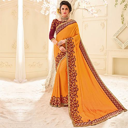 Orange Colored Designer Embroidered Two Tone Silk Sari
