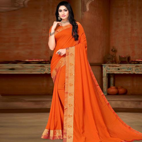 Lovely Orange Colored Festive Wear Lace Work Vichitra Silk Saree