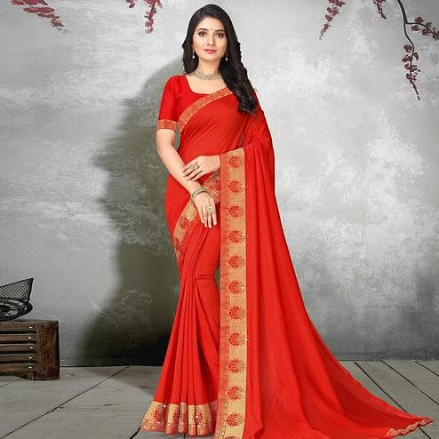 Impressive Red Colored Festive Wear Lace Work Vichitra Silk Saree