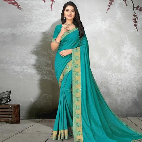 Mesmerising Turquoise Blue Colored Festive Wear Lace Work Vichitra Silk Saree