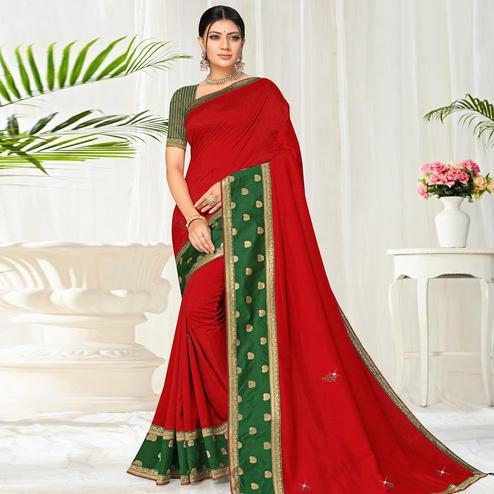 Surpassing Red Colored Festive Wear Lace Work Vichitra Silk Saree