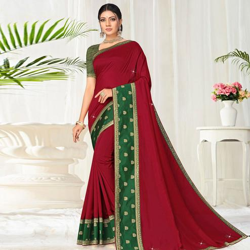 Exotic Maroon Colored Festive Wear Lace Work Vichitra Silk Saree