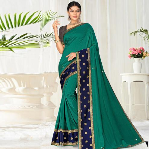 Sophisticated Green Colored Festive Wear Lace Work Vichitra Silk Saree