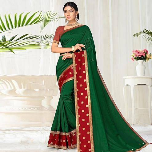 Trendy Green Colored Festive Wear Lace Work Vichitra Silk Saree