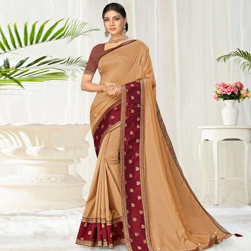 Elegant Beige Colored Festive Wear Lace Work Vichitra Silk Saree