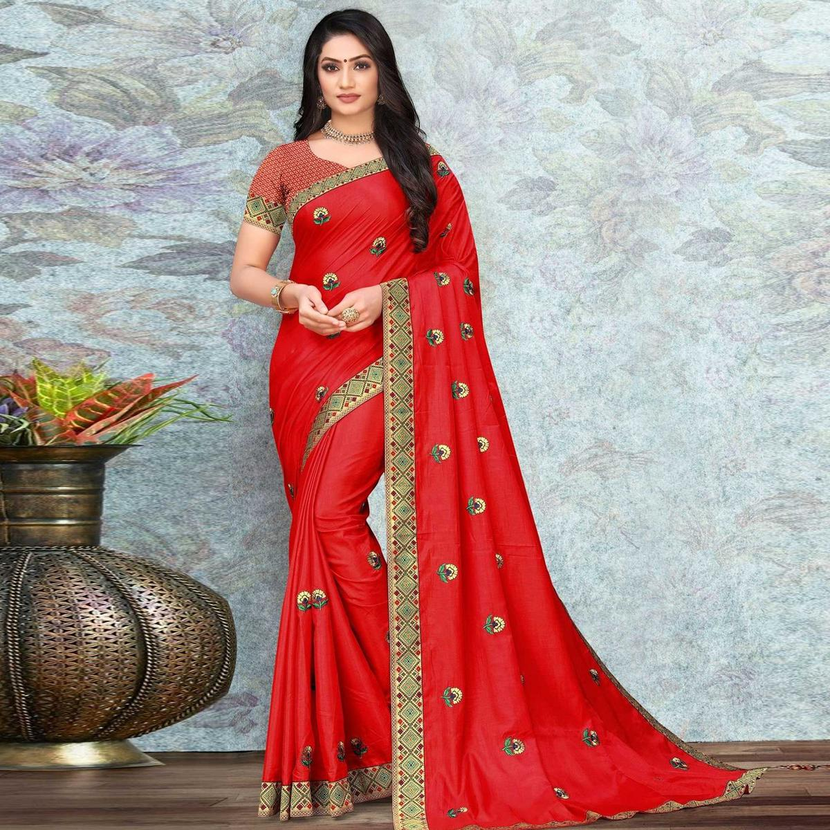Radiant Red Colored Festive Wear Lace Work Vichitra Silk Saree