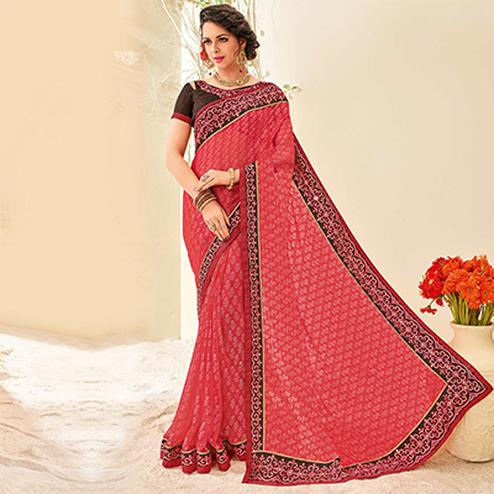 Pink Colored Designer Embroidered Brasso Saree