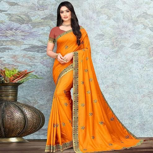 Opulent Yellow Colored Festive Wear Lace Work Vichitra Silk Saree