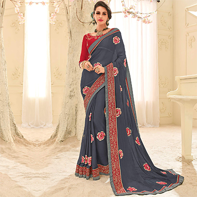 Grey Colored Designer Embroidered Bright Georgette Saree