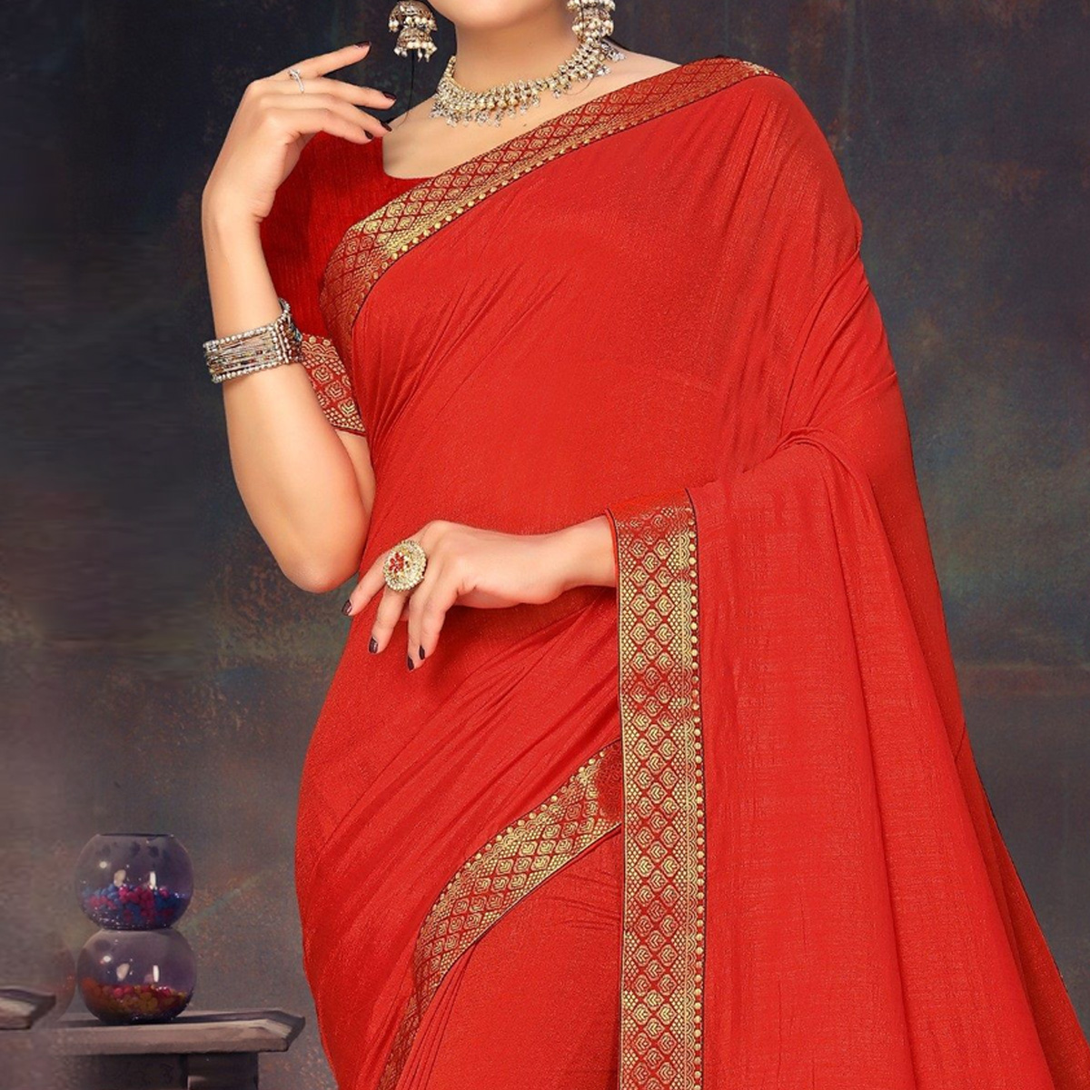 Marvellous Red Colored Festive Wear Lace Work Vichitra Silk Saree