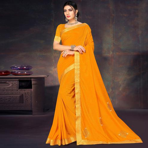 Pretty Yellow Colored Festive Wear Lace Work Vichitra Silk Saree