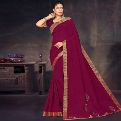 Alluring Purple Colored Festive Wear Lace Work Vichitra Silk Saree