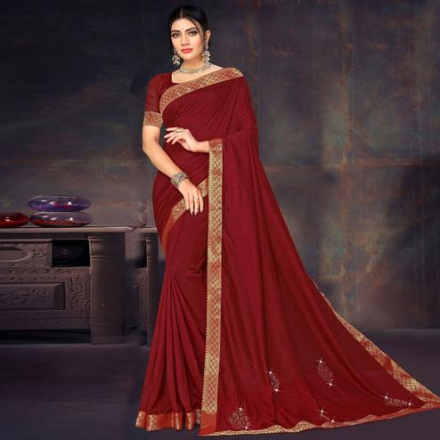 Sensational Maroon Colored Festive Wear Lace Work Vichitra Silk Saree