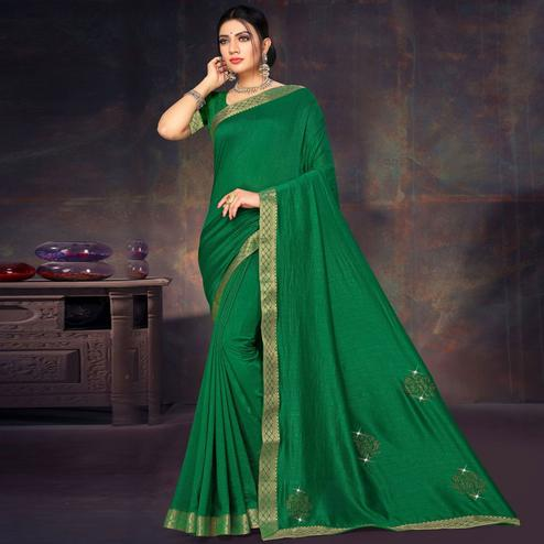 Flaunt Green Colored Festive Wear Lace Work Vichitra Silk Saree